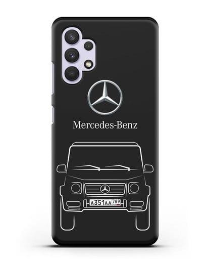 Чехол Mercedes Benz G-класс с автомобильным номером силикон черный для Samsung Galaxy A32 4G [SM-A325F]