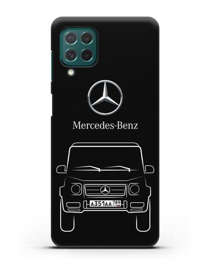 Чехол Mercedes Benz G-класс с автомобильным номером силикон черный для Samsung Galaxy M62 [SM-M625F]