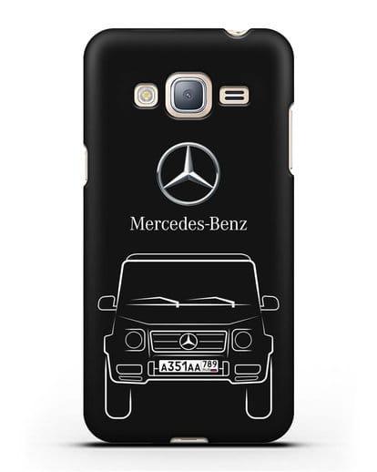 Чехол Mercedes Benz G-класс с автомобильным номером силикон черный для Samsung Galaxy J3 2016 [SM-J320F]