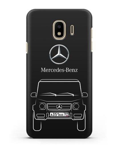 Чехол Mercedes Benz G-класс с автомобильным номером силикон черный для Samsung Galaxy J4 2018 [SM-J400F]