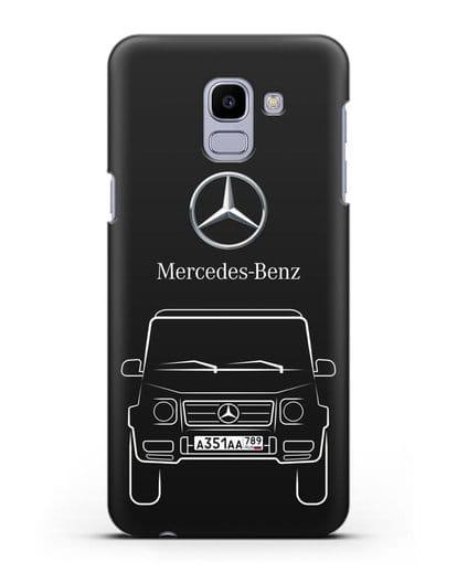 Чехол Mercedes Benz G-класс с автомобильным номером силикон черный для Samsung Galaxy J6 2018 [SM-J600F]