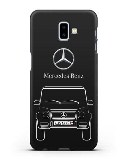 Чехол Mercedes Benz G-класс с автомобильным номером силикон черный для Samsung Galaxy J6 Plus [SM-J610F]