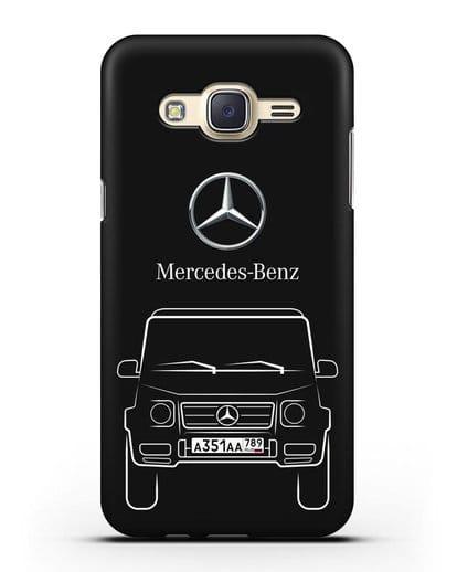 Чехол Mercedes Benz G-класс с автомобильным номером силикон черный для Samsung Galaxy J7 2015 [SM-J700H]