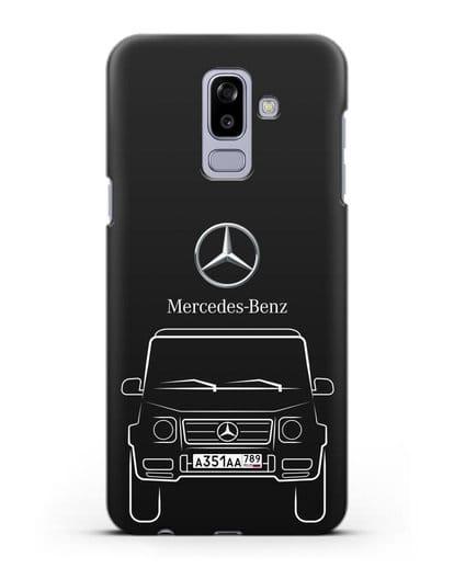 Чехол Mercedes Benz G-класс с автомобильным номером силикон черный для Samsung Galaxy J8 2018 [SM-J810F]