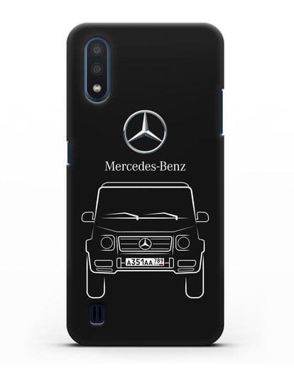 Чехол Mercedes Benz G-класс с автомобильным номером силикон черный для Samsung Galaxy M01 [SM-M015F]