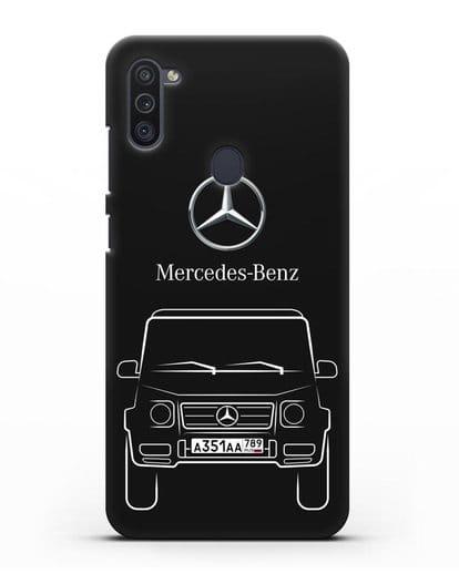 Чехол Mercedes Benz G-класс с автомобильным номером силикон черный для Samsung Galaxy M11 [SM-M115F]