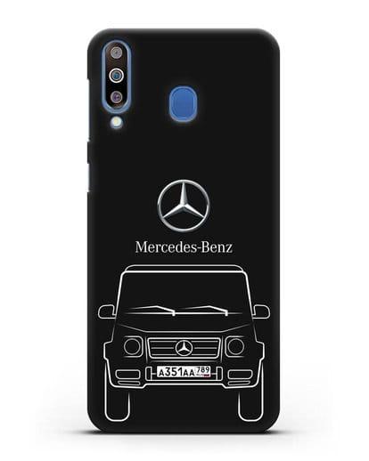 Чехол Mercedes Benz G-класс с автомобильным номером силикон черный для Samsung Galaxy M30 [SM-M305F]