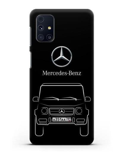 Чехол Mercedes Benz G-класс с автомобильным номером силикон черный для Samsung Galaxy M31s [SM-M317F]