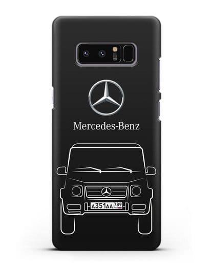 Чехол Mercedes Benz G-класс с автомобильным номером силикон черный для Samsung Galaxy Note 8 [N950F]