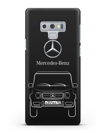 Чехол Mercedes Benz G-класс с автомобильным номером силикон черный для Samsung Galaxy Note 9 [N960F]