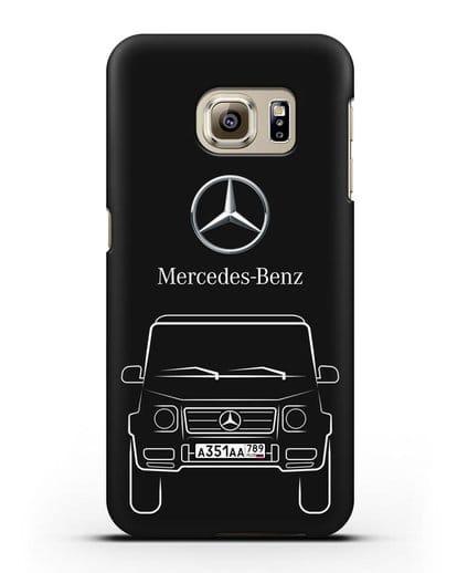 Чехол Mercedes Benz G-класс с автомобильным номером силикон черный для Samsung Galaxy S6 Edge [SM-G925F]