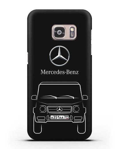 Чехол Mercedes Benz G-класс с автомобильным номером силикон черный для Samsung Galaxy S7 [SM-G930F]
