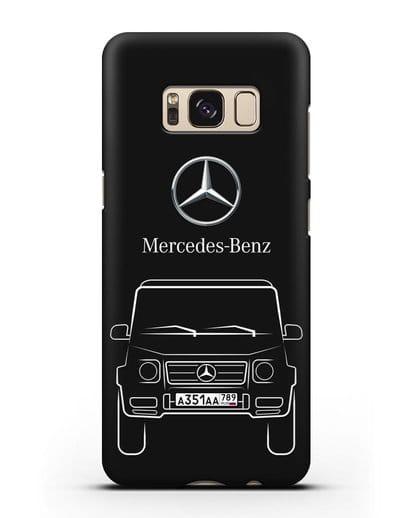 Чехол Mercedes Benz G-класс с автомобильным номером силикон черный для Samsung Galaxy S8 Plus [SM-G955F]