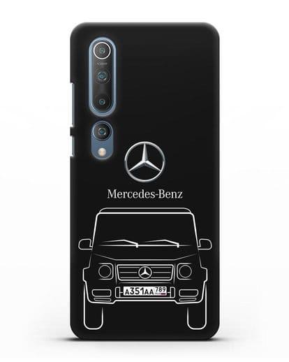 Чехол Mercedes Benz G-класс с автомобильным номером силикон черный для Xiaomi Mi 10