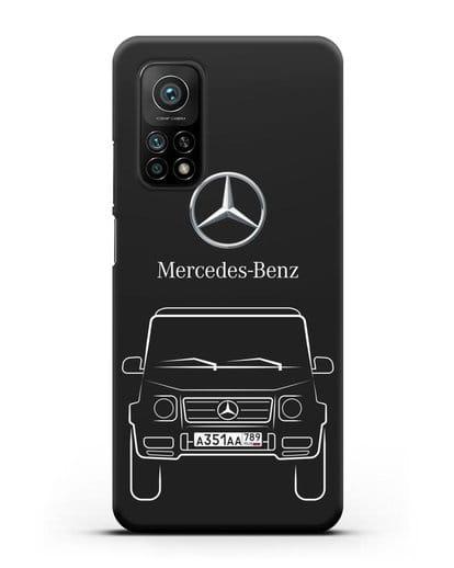 Чехол Mercedes Benz G-класс с автомобильным номером силикон черный для Xiaomi Mi 10t Pro