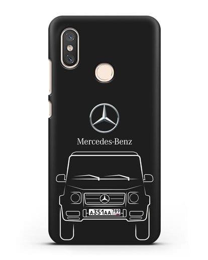 Чехол Mercedes Benz G-класс с автомобильным номером силикон черный для Xiaomi Mi 8