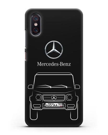 Чехол Mercedes Benz G-класс с автомобильным номером силикон черный для Xiaomi Mi 8 Pro