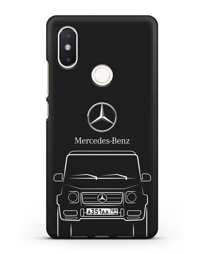 Чехол Mercedes Benz G-класс с автомобильным номером силикон черный для Xiaomi Mi 8 SE