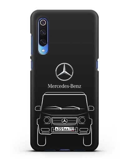 Чехол Mercedes Benz G-класс с автомобильным номером силикон черный для Xiaomi Mi 9