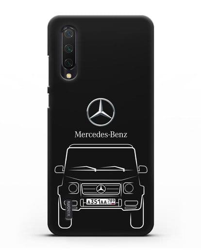 Чехол Mercedes Benz G-класс с автомобильным номером силикон черный для Xiaomi Mi 9 Lite