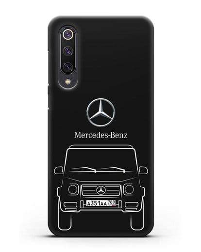 Чехол Mercedes Benz G-класс с автомобильным номером силикон черный для Xiaomi Mi 9 SE