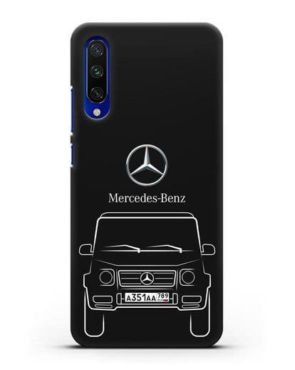 Чехол Mercedes Benz G-класс с автомобильным номером силикон черный для Xiaomi Mi A3