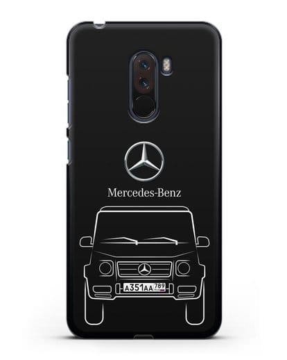 Чехол Mercedes Benz G-класс с автомобильным номером силикон черный для Xiaomi Pocophone F1