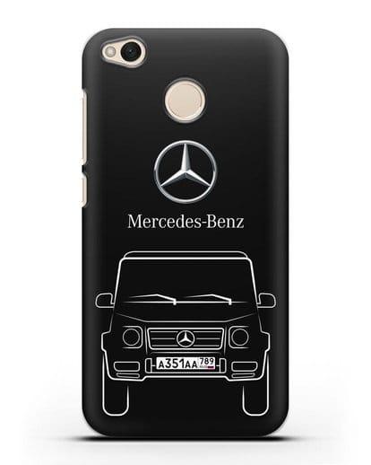 Чехол Mercedes Benz G-класс с автомобильным номером силикон черный для Xiaomi Redmi 4X