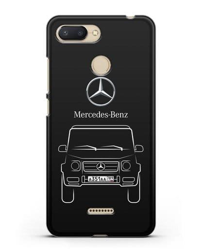 Чехол Mercedes Benz G-класс с автомобильным номером силикон черный для Xiaomi Redmi 6