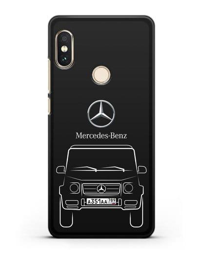 Чехол Mercedes Benz G-класс с автомобильным номером силикон черный для Xiaomi Redmi 6 Pro