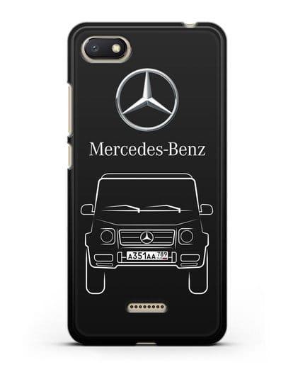 Чехол Mercedes Benz G-класс с автомобильным номером силикон черный для Xiaomi Redmi 6A