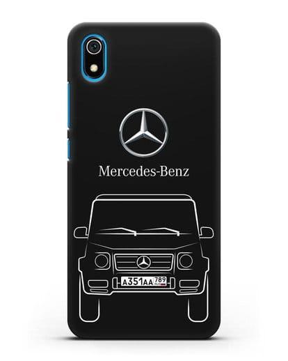 Чехол Mercedes Benz G-класс с автомобильным номером силикон черный для Xiaomi Redmi 7A