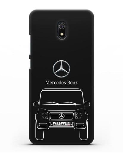 Чехол Mercedes Benz G-класс с автомобильным номером силикон черный для Xiaomi Redmi 8A