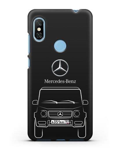 Чехол Mercedes Benz G-класс с автомобильным номером силикон черный для Xiaomi Redmi Note 6 Pro