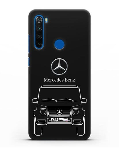 Чехол Mercedes Benz G-класс с автомобильным номером силикон черный для Xiaomi Redmi Note 8
