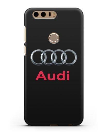 Чехол с логотипом Audi силикон черный для Honor 8