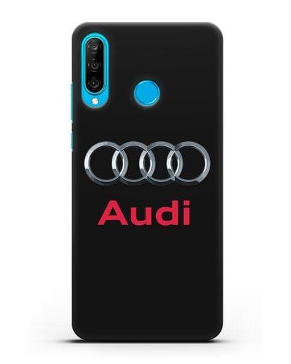 Чехол с логотипом Audi силикон черный для Huawei P30 Lite
