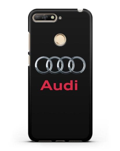 Чехол с логотипом Audi силикон черный для Huawei Y6 Prime 2018
