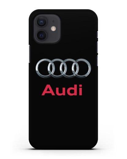 Чехол с логотипом Audi силикон черный для iPhone 12