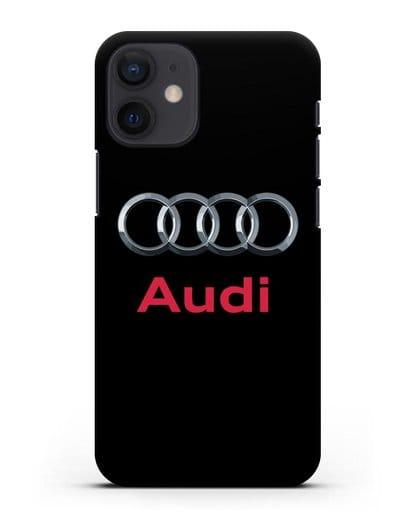 Чехол с логотипом Audi силикон черный для iPhone 12 mini