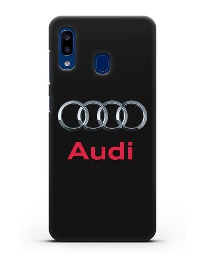 Чехол с логотипом Audi силикон черный для Samsung Galaxy A20 [SM-A205FN]