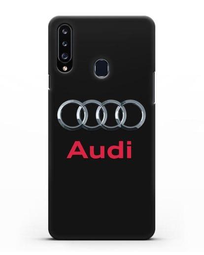 Чехол с логотипом Audi силикон черный для Samsung Galaxy A20s [SM-A207FN]