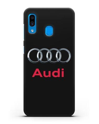Чехол с логотипом Audi силикон черный для Samsung Galaxy A30 [SM-A305FN]