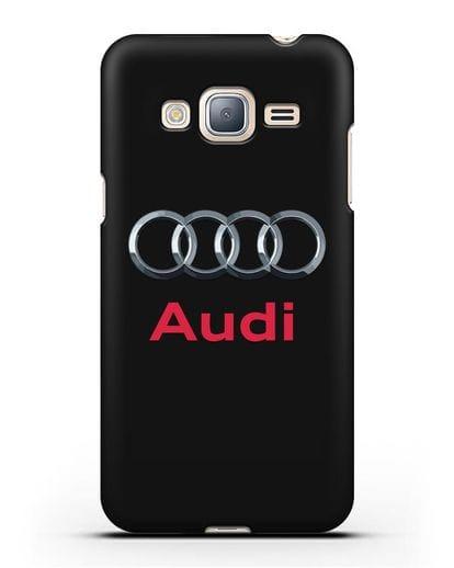 Чехол с логотипом Audi силикон черный для Samsung Galaxy J3 2016 [SM-J320F]