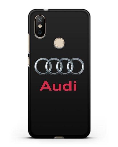 Чехол с логотипом Audi силикон черный для Xiaomi Mi 6X