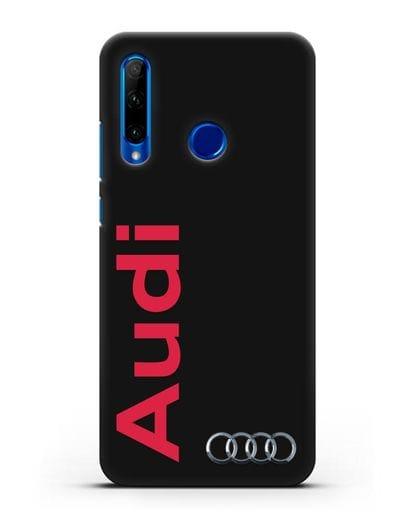 Чехол с надписью Audi и логотипом силикон черный для Honor 10i