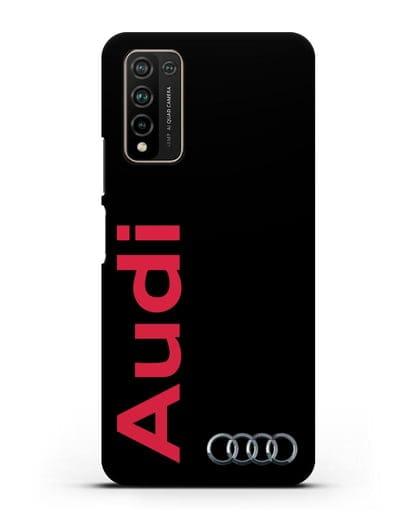 Чехол с надписью Audi и логотипом силикон черный для Honor 10X Lite