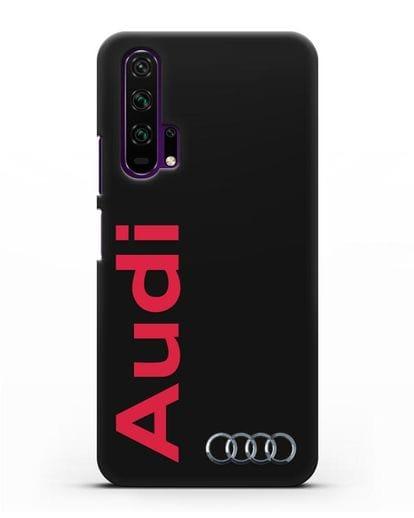 Чехол с надписью Audi и логотипом силикон черный для Honor 20 Pro