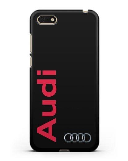 Чехол с надписью Audi и логотипом силикон черный для Honor 7А