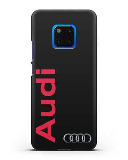 Чехол с надписью Audi и логотипом силикон черный для Huawei Mate 20 Pro